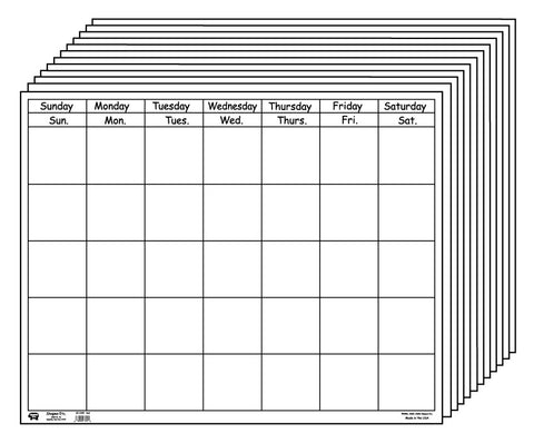 Picture of Horizontal Calendar - Set of White