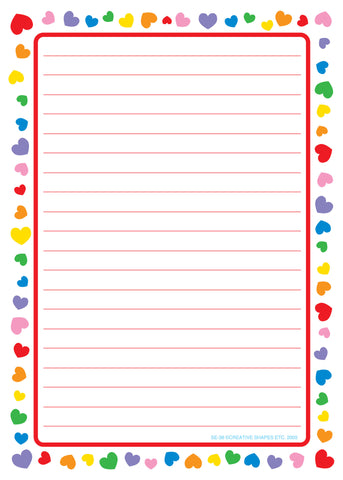Picture of Large Notepad - Heart Border