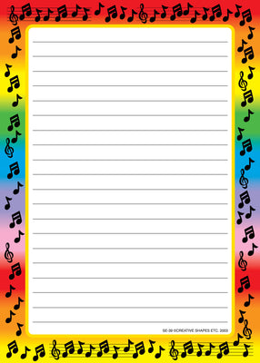 Large Notepad - Music Border / Lined - Creative Shapes Etc.