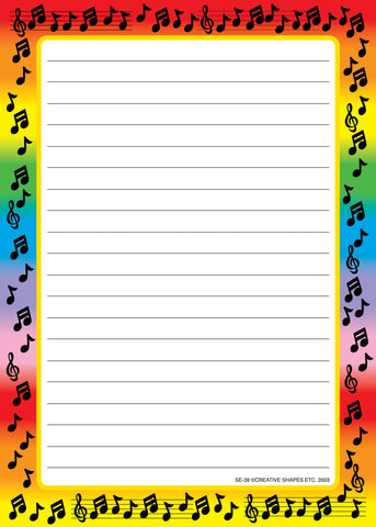Picture of Large Notepad - Music Border / Lined
