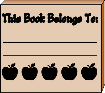 Teacher's Stamp - Apple Book Belongs - Creative Shapes Etc.