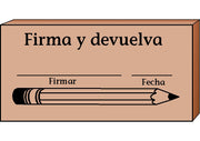 Teacher's Stamp Spanish - Firma y devuelva (Sign & Return) - Creative Shapes Etc.