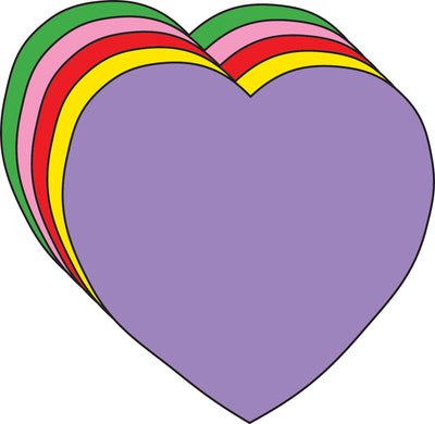 "3"" Heart Assorted Color Creative Cut-Outs, 31 Cut-Outs in a Pack for Kids' Love and Peace School Craft Projects, Valentine's Day Craft."