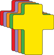 "3"" Cross Assorted Color Creative Cut-Outs, 31 Cut-Outs in a Pack for Kids' Craft, Decorations, Religious Projects, School Craft Projects"