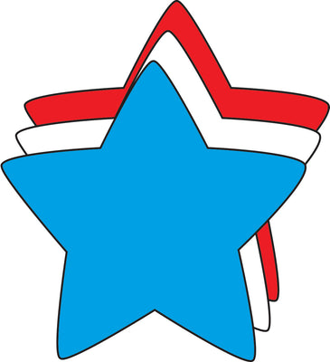 "3"" Star Tri-Color Creative Cut-Outs, 31 cut-outs in a pack for Star Inspired Classroom/ School Craft Projects, Holiday Decorations, Kids Craft Projects"