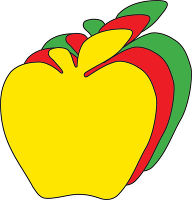 "3"" Apple Tri-Color Creative Cut-Outs, 31 Cut-Outs in a Pack for Fall Projects, Decorations , Learning Games, Classroom, Kids' School Craft Projects"