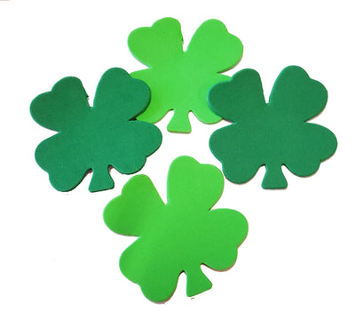 Small Assorted Color Creative Foam Cut-Outs - Assorted Green Four Leaf Clover