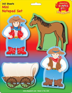 Mini Notepad Set - Western - Creative Shapes Etc.