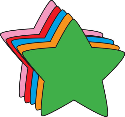 "5.5"" Star Assorted Color Creative Cut-Outs, 31 cut-outs in a pack for Star Inspired Classroom/ School Craft Projects."