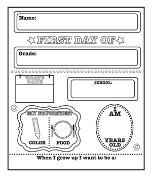 First Day of School Announcement - Black/White - Creative Shapes Etc.