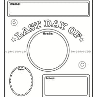 Last Day of School Announcement - Black/White - Creative Shapes Etc.