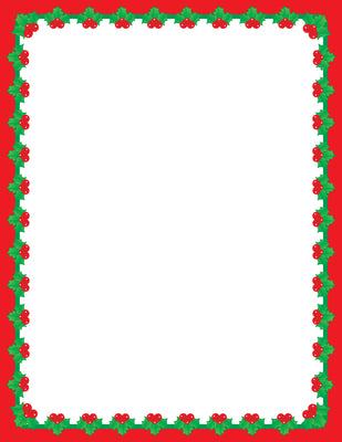 Designer Paper - Christmas Holly (50 Sheet Package) - Creative Shapes Etc.