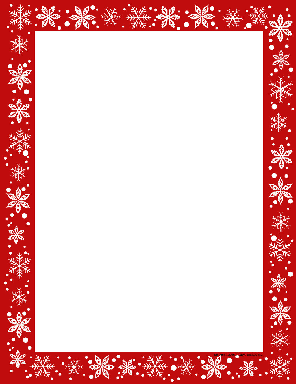 Designer Paper - Christmas Snow (50 Sheet Package) - Creative Shapes Etc.
