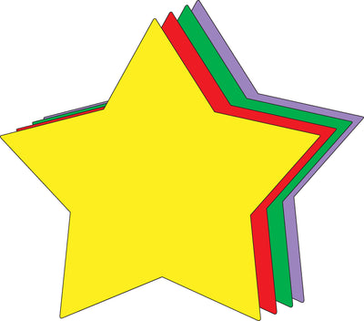 "8"" x 10"" Star Assorted Color Super Cut-Outs, 15 Cut-Outs in a Pack for Star Inspired Classroom/School Craft Projects"