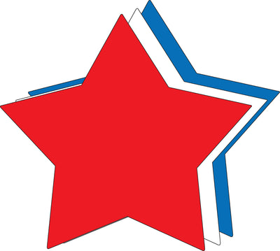 "8"" x 10"" Star Tri- Color Super Cut-Outs"