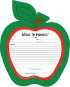 "8"" x 10"" Red Apple Blank Pad - Notes to Parents"