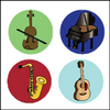Incentive Stickers - Musical Instruments (Pack of 1728) - Creative Shapes Etc.