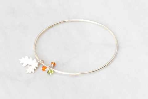 Oak Leaf Bangle with Autumn Gemstones