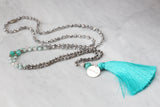 Breathe - Mala Style Positive Message Necklace with Amazonite & Moonstone