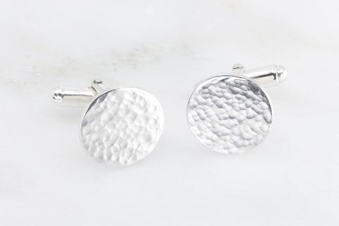 Hammered Disc Cufflinks