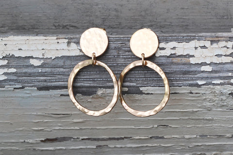 Earrings - Disc Pebble Hoop - Gold filled