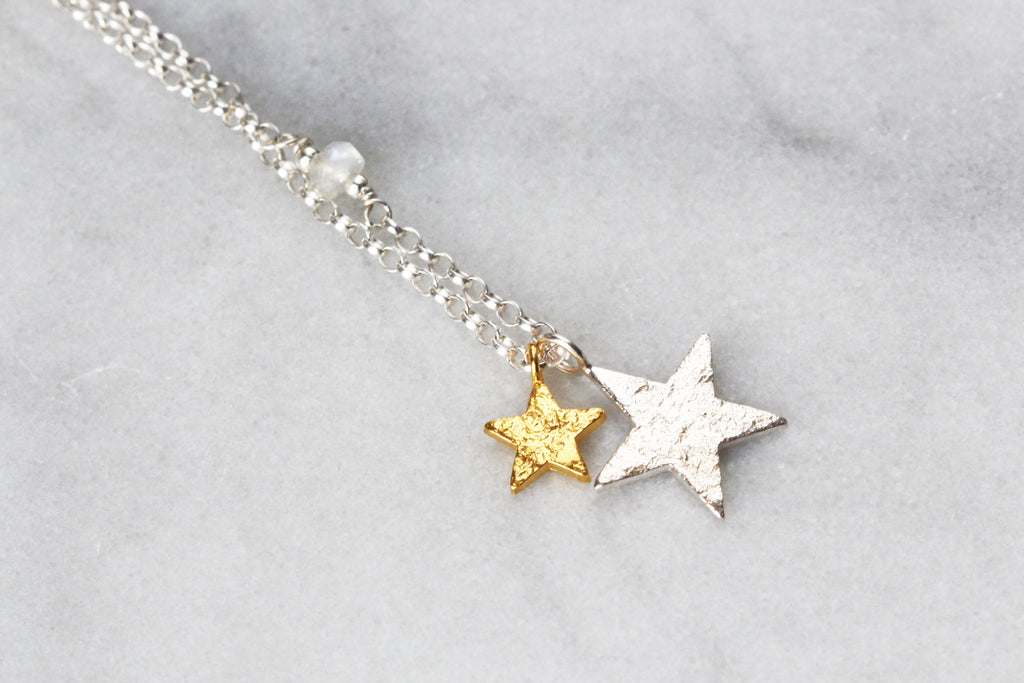 Double Star Pendant with Rainbow Moonstone