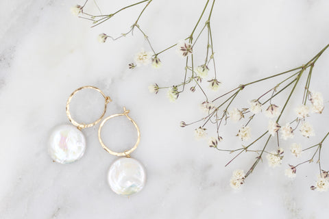 Coin Pearl Hoop Earrings - Gold Filled