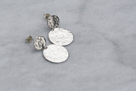 Double Hammered Disc Stud Earrings