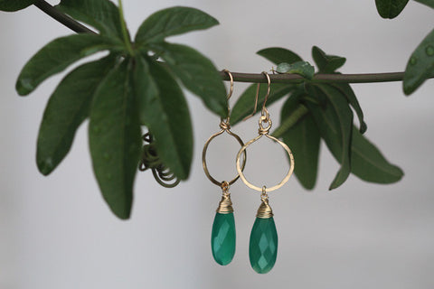 Onion Hoop Earrings - Gold Filled