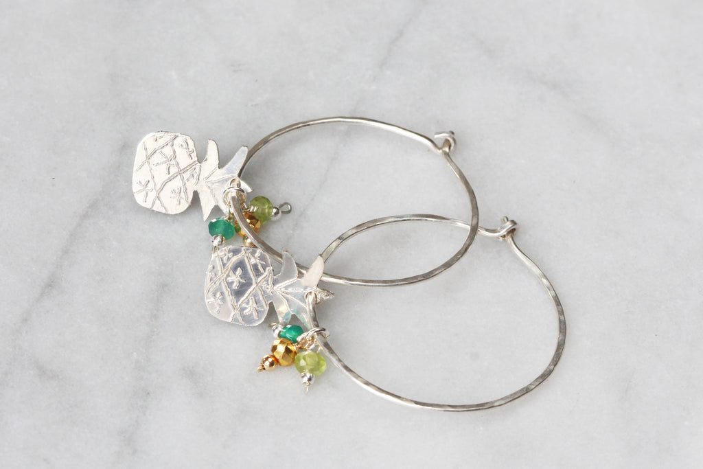 Earrings - Pineapple Hoops