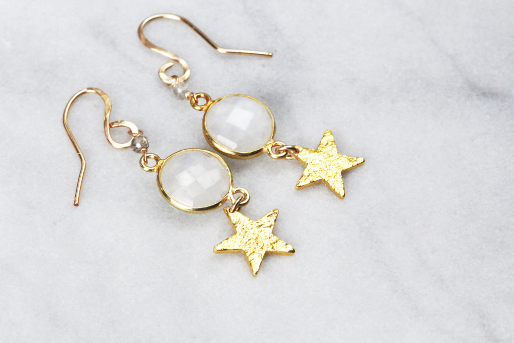 Star and Moonstone Earrings