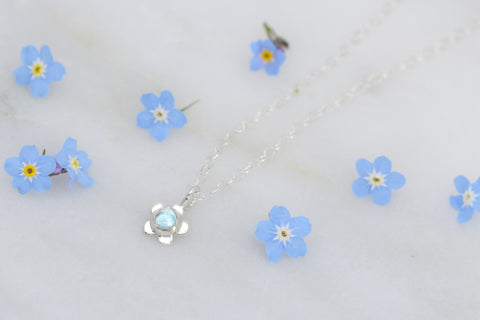 Forget Me Not Pendant with Blue Topaz