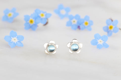 Forget Me Not Stud Earrings with Blue Topaz