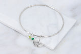 Ginkgo Bangle with Gemstones