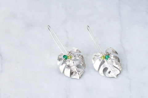 Monstera Earrings with Detachable Gemstone Cluster