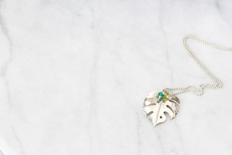 Monstera Pendant with Gemstone Cluster
