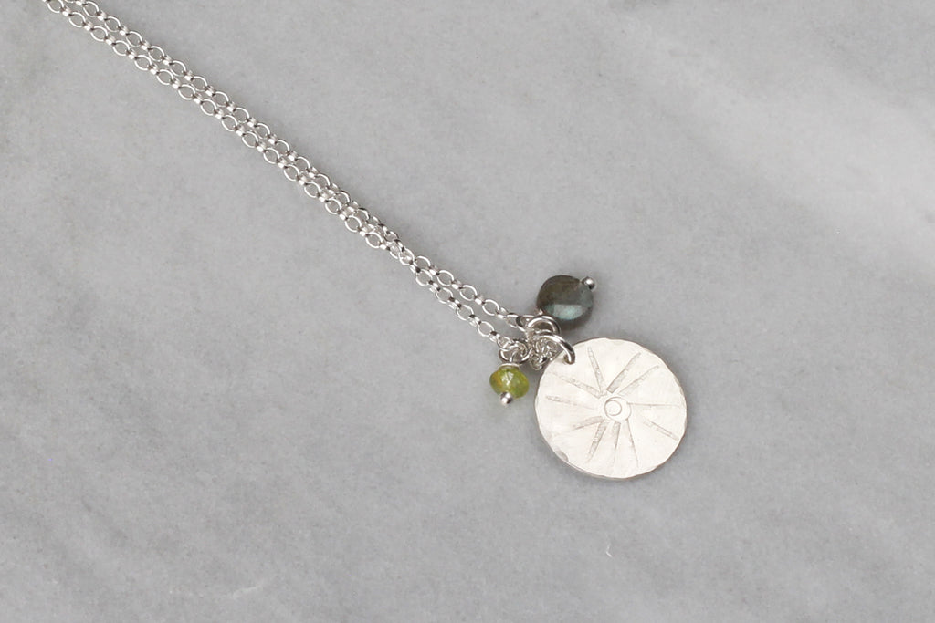 Tribal Sunshine Disc Pendant with Labradorite & Peridot