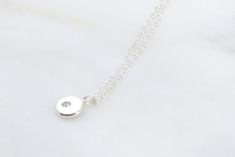 Tiny Pebble Pendant with Cubic Zirconia