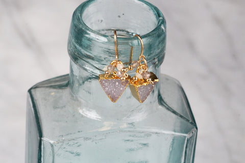 Earrings - Quartz Druzy Triangle with Gemstones