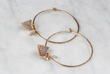 Earrings - Gold Quartz Druzy Triangle Hoops