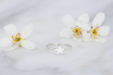 Tiny Textured Star Ring
