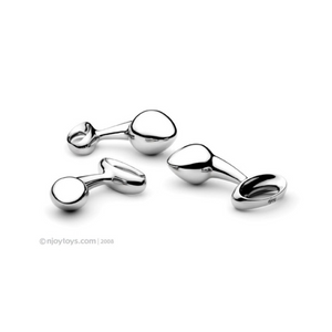Njoy Pure Plugs in stainless steel, all three sizes are pictured here