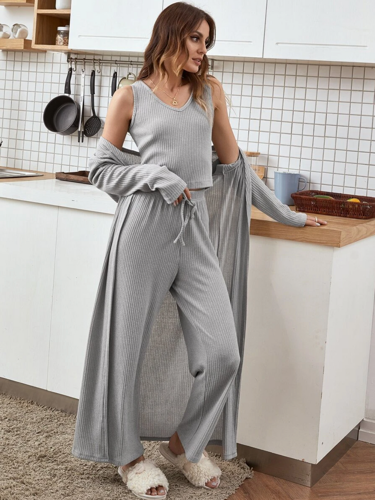 3 Pack Solid Tie Front Robe Lounge Set in Grey