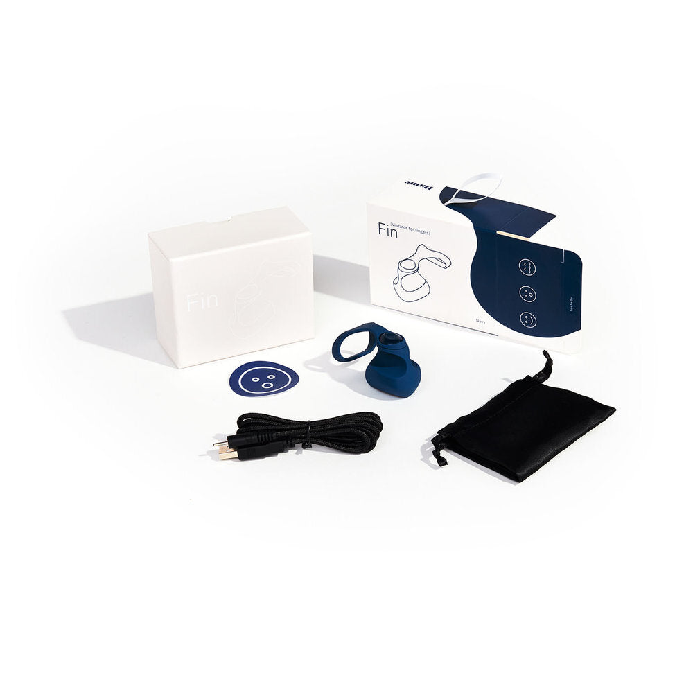 Fin Finger Vibrator and packaging by Dame, in Navy Blue