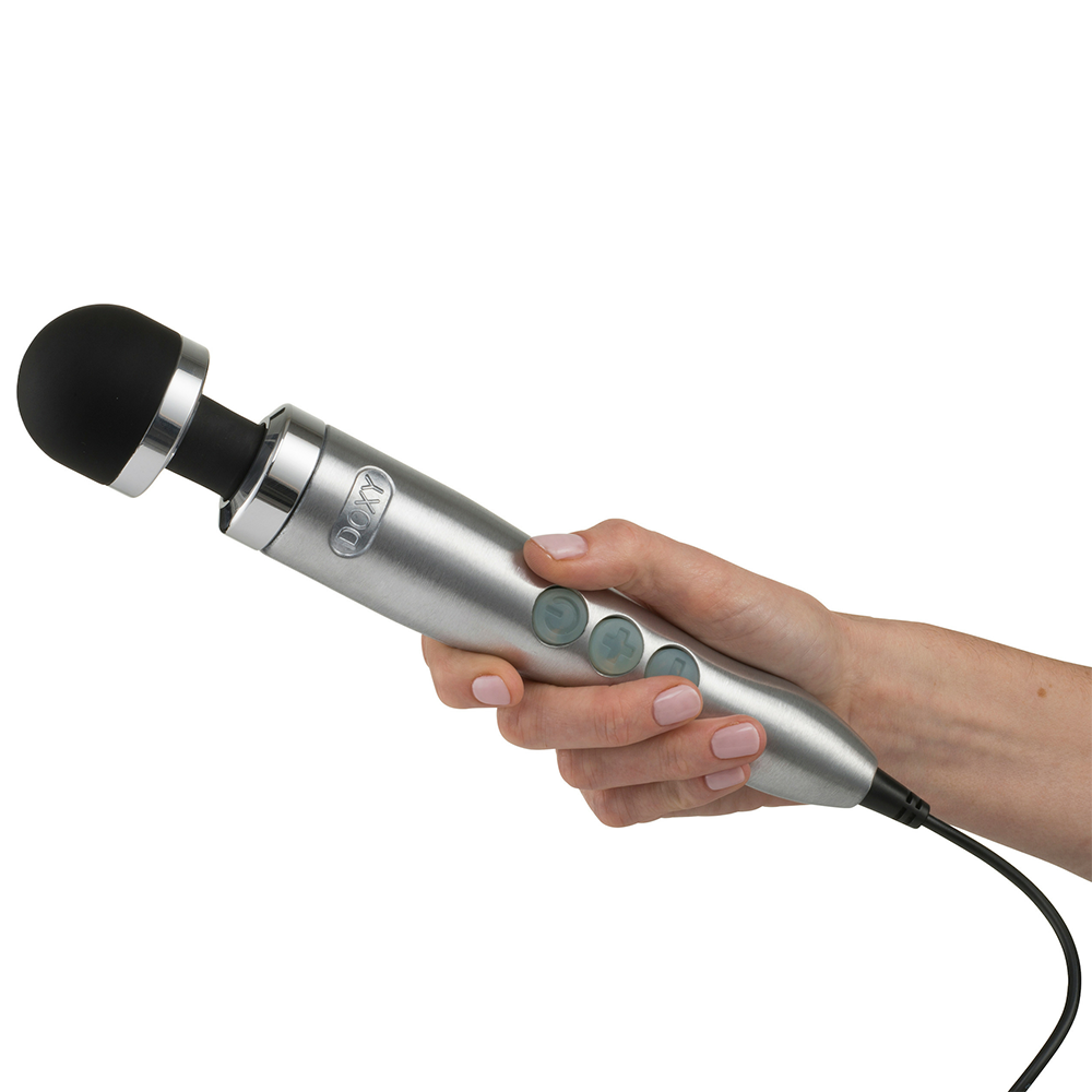 DOXY 3 Die Cast Massager in Silver being held in a hand