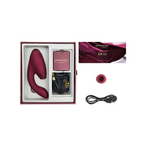 Duo Clitoral Rabbit Vibrator by Womanizer in blurgandy packaging