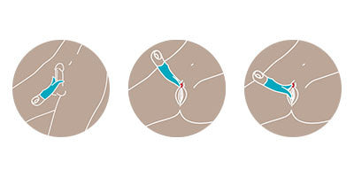 Volta vibrator by Fun Factory, illustrations demonstrating how to use the product