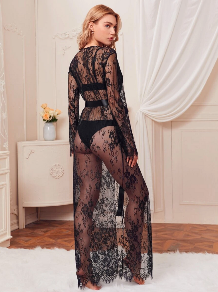 Floral Lace Belted Sheer Robe