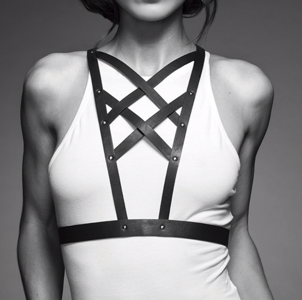 Cross Clevage Harness in Vegan Leather by Maze