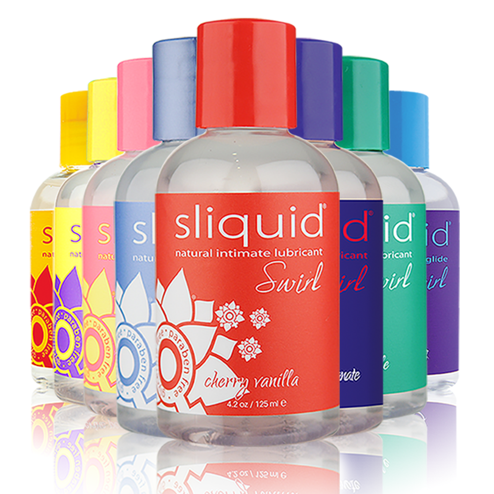 Swirl Flavoured Personal Lubricant by Sliquid all eight flavours pictured